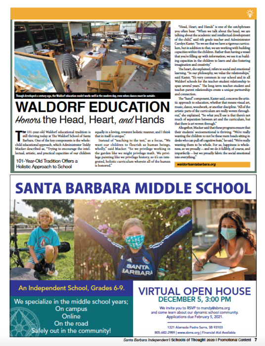 Waldorf Education Honors the Head, Heart and Hands. Originally published in Santa Barbara Independent on November 19, 2020.