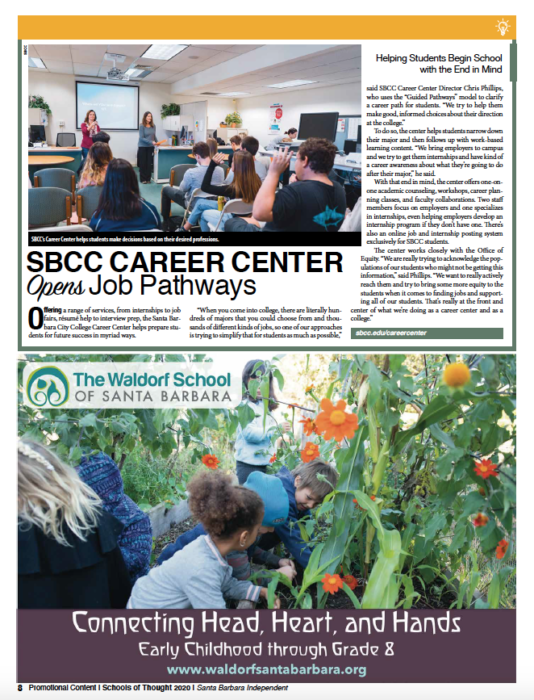 SBCC Career Center Opens Job Pathways, originally published in Santa Barbara Independent on November 19, 2020.