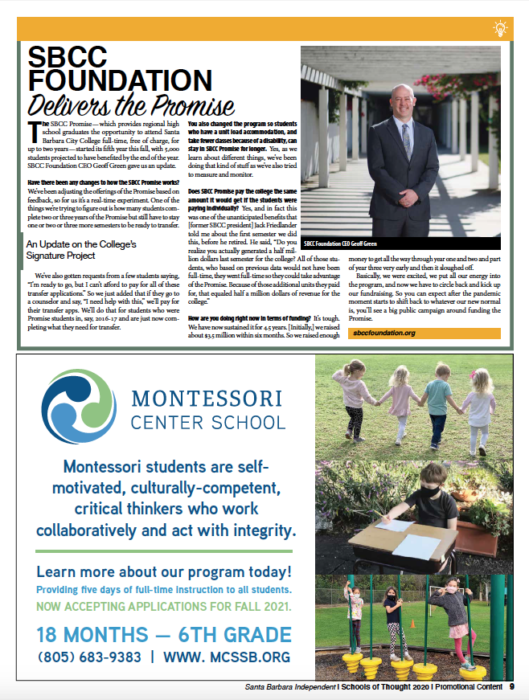 SBCC Foundation Delivers the Promise, originally published in Santa Barbara Independent on November 19, 2020.