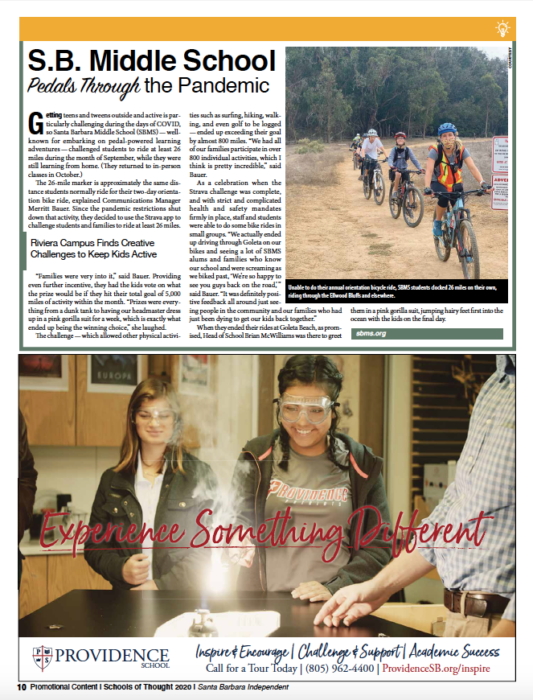 S.B. Middle School Pedals Through the Pandemic, originally published in Santa Barbara Independent on November 19, 2020.