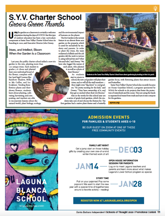 S.Y.V. Charter School Grows Green Thumbs, originally published in Santa Barbara Independent on November 19, 2020.