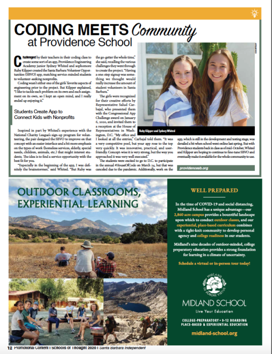 Coding Meets Community at Providence School, originally published in Santa Barbara Independent on November 19, 2020.