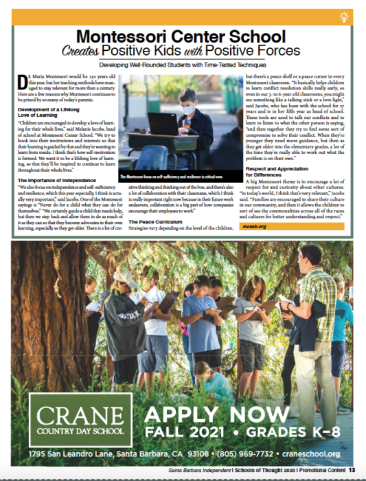 Montessori Center School Creates Positive Kids With Positive Forces, originally published in Santa Barbara Independent on November 19, 2020.