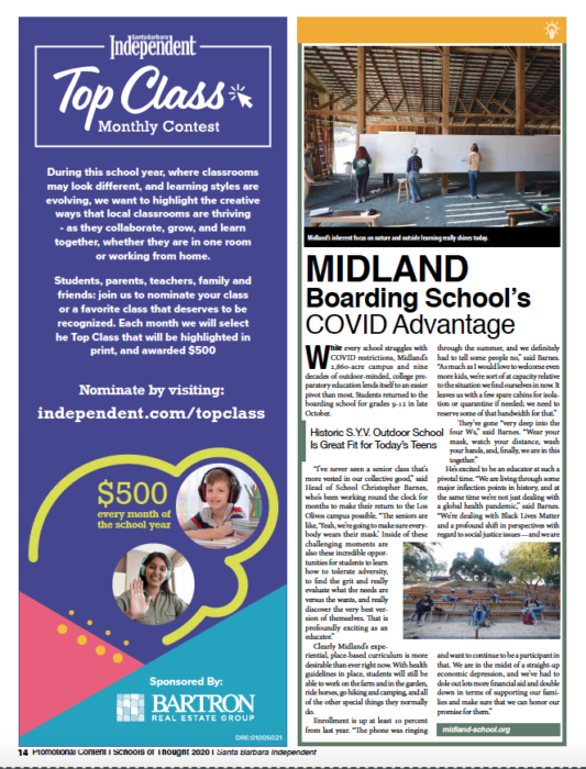 Midland Boarding School's COVID Advantage, originally published in Santa Barbara Independent on November 19, 2020.