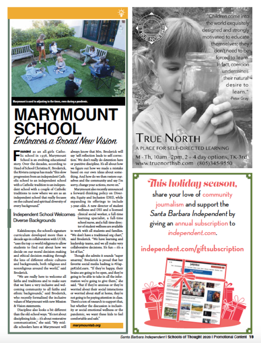 Marymount School Embraces a Broad New Vision, originally published in Santa Barbara Independent on November 19, 2020.