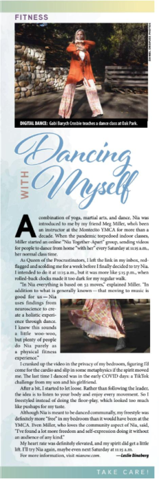 Dancing with Myself, originally published in the Santa Barbara Independent Self-Care issue, January 7, 2021.