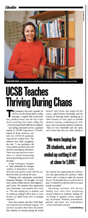 UCSB Teaches Thriving During Chaos, originally published in the Santa Barbara Independent Self-Care issue, January 7, 2021.