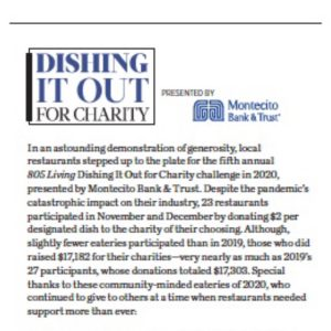Dishing it out for Charity, originally published in 805 Living Magazine, March 2021.