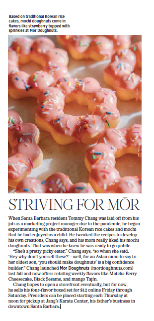 Mor Doughnuts, originally appeared in 805 Living Magazine, March 2021.