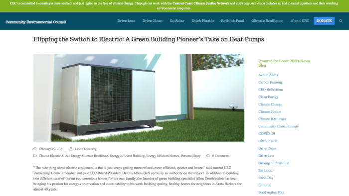 Dennis Allen talks about electric-powered homes on the CEC blog.
