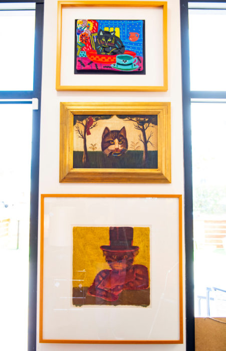 Kitty corner, a tribute to cats in art form, at sbmidmod in the Funk Zone. Photo by Erick Madrid for the Santa Barbara Independent.