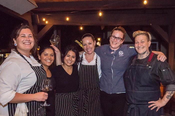 K'Syrah Catering & Events Executive Chef Brooke Stockwell (second from right), celebrates with collaborating Chefs Pink (aka Crystal DeLongpre, far right),Cynthia Miranda (center) andAlicia Valencia (third from left), after the 2018 Women Winemakers Dinner.Photo by Deborah Chadsey, In Paradise Photography.